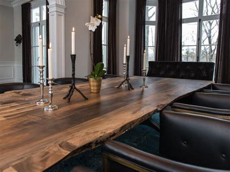 rough hewn slab dining room table hgtv