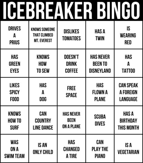 icebreaker bingo template icebreakers the best way to get a started babble