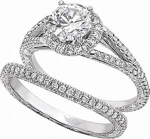 flyerfit split shank micro pave diamond engagement ring With wedding band to match split shank engagement ring