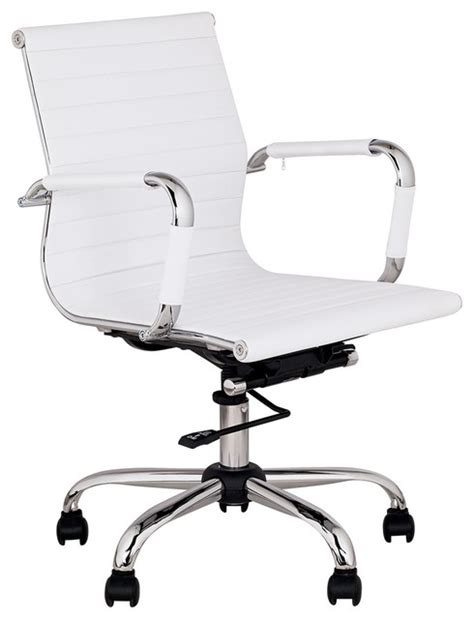 contemporary white leather low back swivel office chair