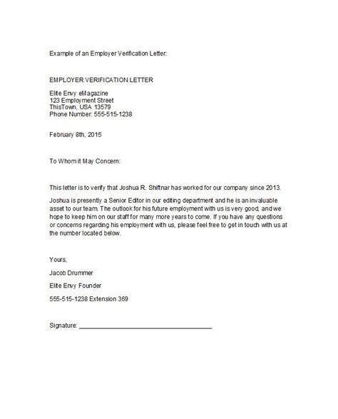 letter confirming employment 40 proof of employment letters verification forms sles