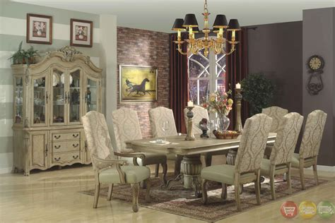 traditional antique whitewash  piece formal dining set