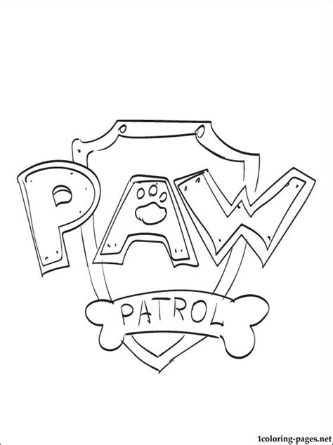 paw patrol logo coloring page coloring pages