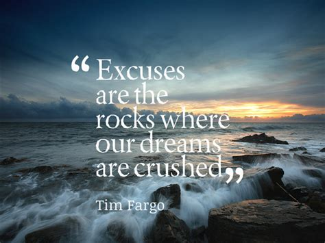 Excuses are rocks where our dreams are c - Tim Fargo ...