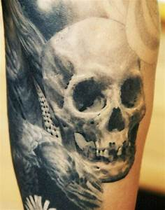 realistic skull tattoo by Sergio Sanchez - Design of ...