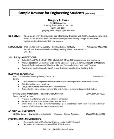 Chronological Resume In A Sentence by 10 Student Curriculum Vitae Template Sle Free