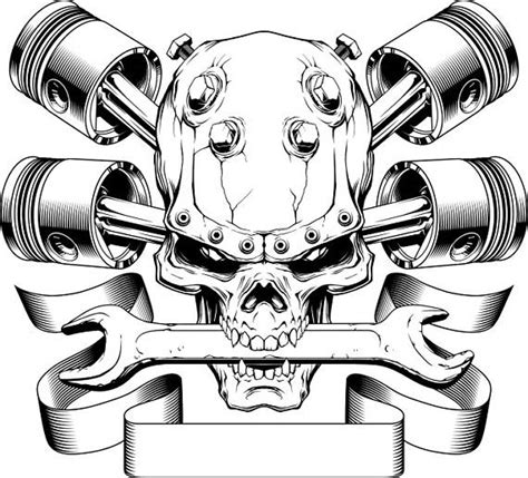 pistons crossed skull wrench engine car auto biker mechanic outlines cars auto