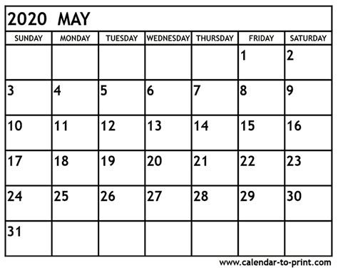 May 2020 Calendar Printable Org