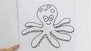 How to draw cute cartoon octopus - YouTube