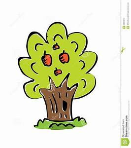 Cartoon Drawing Tree With Color Stock Illustration - Image ...