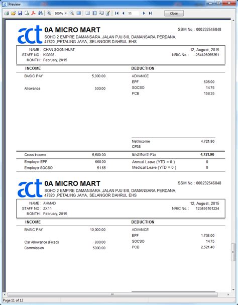 Payslip Template Malaysia by Malaysia Payslip Template 28 Images 6 Salary Slip
