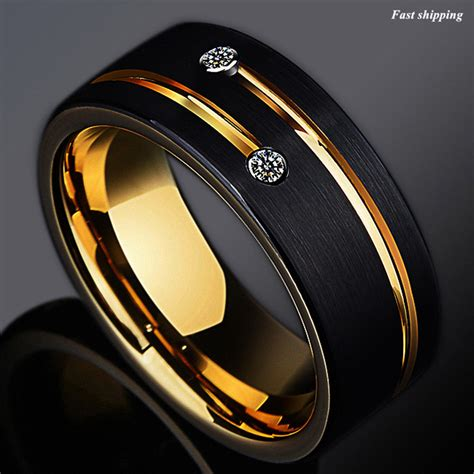 8mm black brushed tungsten ring gold grooved line atop wedding band ebay