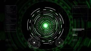 Futuristic hi-tech green head-up display. Computer ...