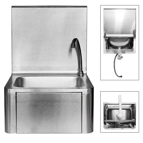 handwaschbecken mit unterschrank edelstahl waschbecken edelstahl mit kniebedienung industrie
