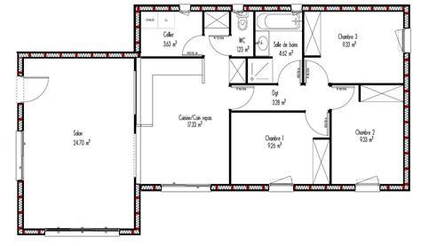 plan maison plain pied gratuit plan maison ossature bois plain pied gratuit