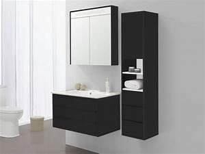 Colonne Salle De Bain Noir : ensemble de salle de bain aissa miroir et colonne noir avec int rieur blanc salle de bain ~ Teatrodelosmanantiales.com Idées de Décoration