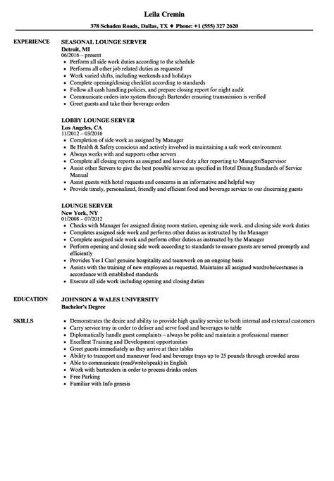 Server Resume Exles by Vip Bottle Service Resume Www Nmdnconference