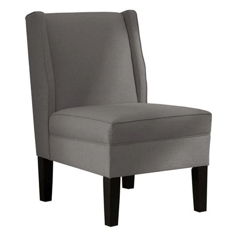 skyline furniture upholstered armless wingback linen grey