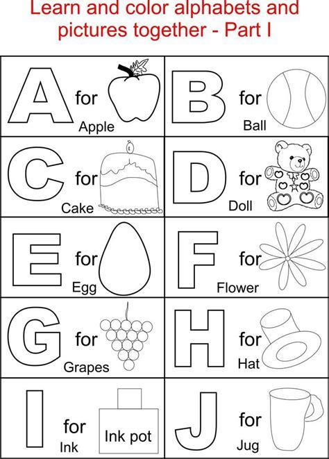 alphabet part  coloring printable page  kids