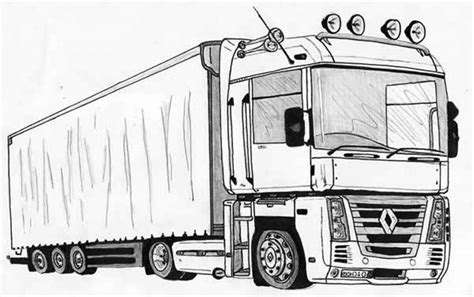 semi truck drawing coloring page  print