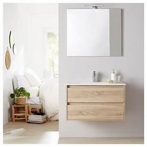 Meuble De Salle De Bain Avec Miroir : meuble de salle de bain miroir eclairage 80 cm siris cambrian ~ Nature-et-papiers.com Idées de Décoration