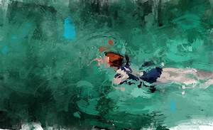 Lush paintings of solitary swimmers by pedro covo colossal for Lush paintings of solitary swimmers by pedro covo