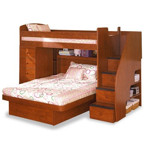 homeofficedecoration twin  full bunk bed  stairs