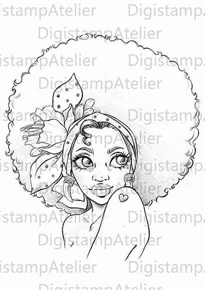 Coloring Afro Pages Digi Digital Stamps Instant
