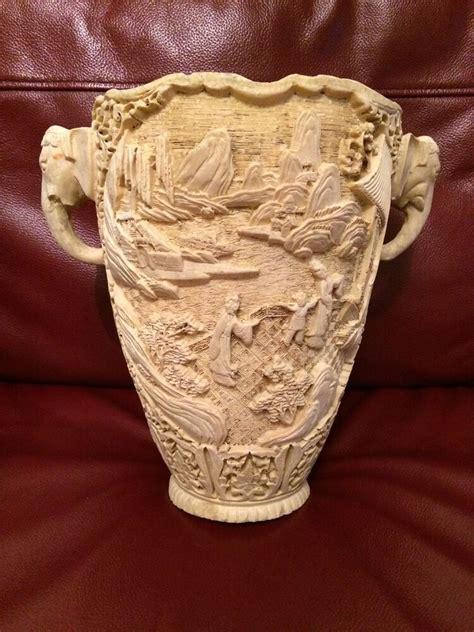 Carved Vase by Vintage Carved Style Vase Elephant