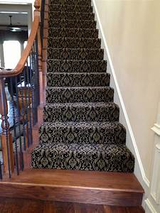 Decorating on a shoe string installs patterned carpet on for Luxury stair carpet