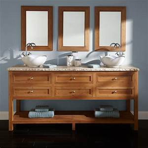 "72"" Thayer Bamboo Double Vessel Sink Vanity - Bathroom"