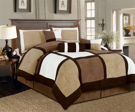 7 pieces brown beige suede patchwork comforter bedding
