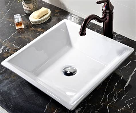 above counter kitchen sinks vccucine white square above counter porcelain ceramic 3957