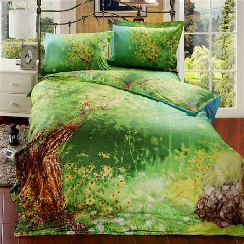 new 100 cotton bedclothes queen size 3d bedding sets green forest floral and tree duvet cover