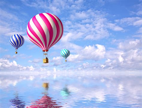 Wallpaper Hot Air Balloons, Colorful, Reflections, Clouds