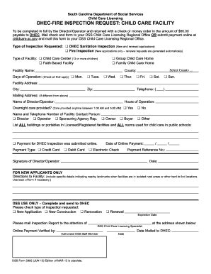 sc dss child care forms dss form 2905 may 2011 fill online printable fillable