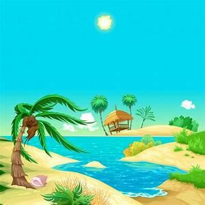 Cartoon beach Vector | Free Download