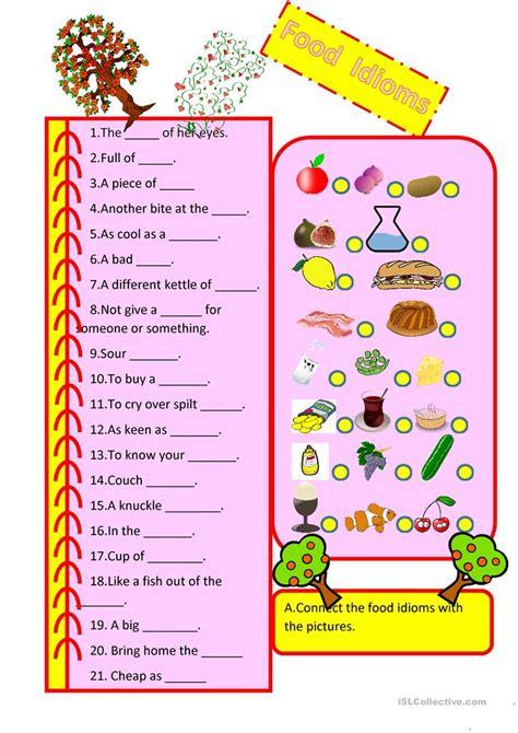 food idioms english esl worksheets