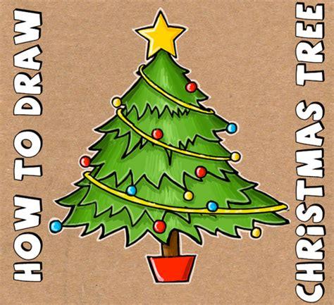 draw  christmas tree  simple step  step