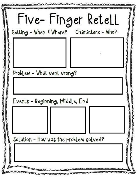 finger retell poster worksheet tutor retelling