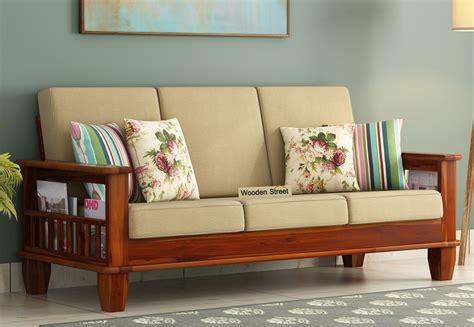 buy quartz 3 seater wooden sofa honey finish in