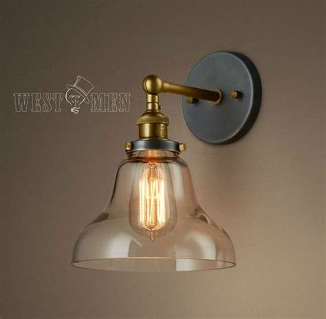glass shade vintage industrial wall mount light rustic