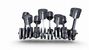 Isolated V8 Engine Of Pistons  U0026 Crankshaft