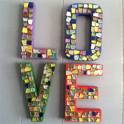 mosaic letters made with cardboard letters from hobby lobby a paint mod podge