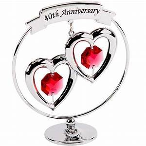 40th Ruby Wedding Anniversary Crystal Gift with Swarovski ...