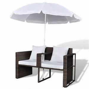 acheter canape de 2 places rond brun avec le parasol pas With tapis de course pas cher avec canape rond jardin