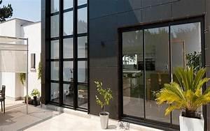 fenetre coulissant et porte d39entree alu coloris noir With porte d entrée pvc en utilisant fenetre alu noir