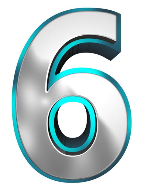 Metallic and Blue Number Six PNG Clipart Image