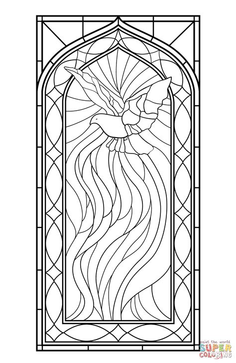 Stained Glass Window With Holy Spirit Coloring Page Free
