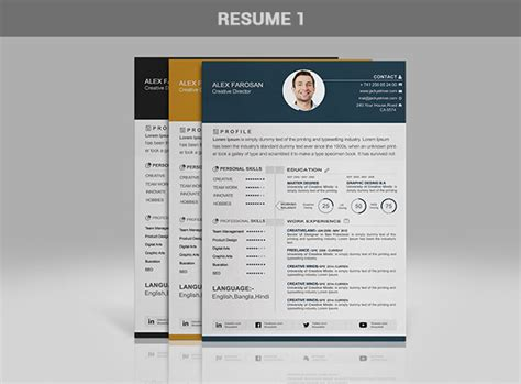 Portfolio Cv by Free Professional Resume Cv Template In 3 Different